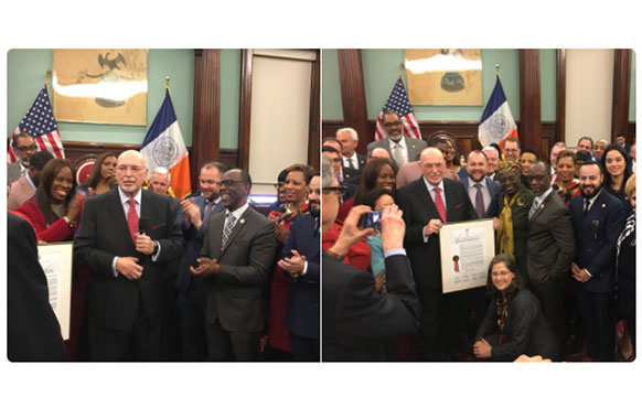Arthur Cheliotes, surrounded by New York City Council Members, receiving a Lifetime Achievement Award