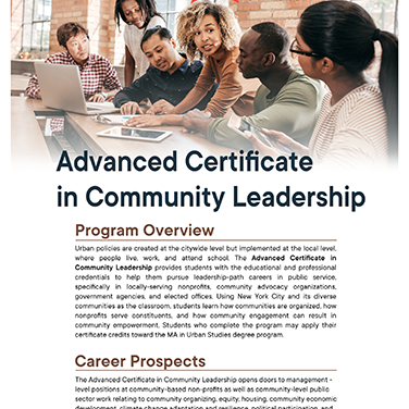 Adv Cert Community Leadership