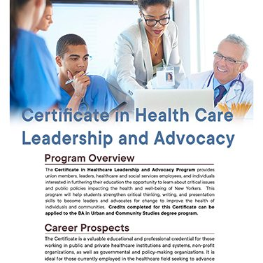 Certificate in Healthcare Leadership and Advocacy