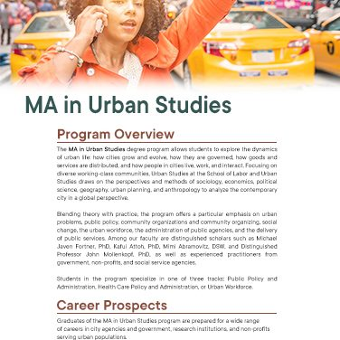 MA in Urban Studies